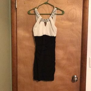 Deb Small short black & white dress